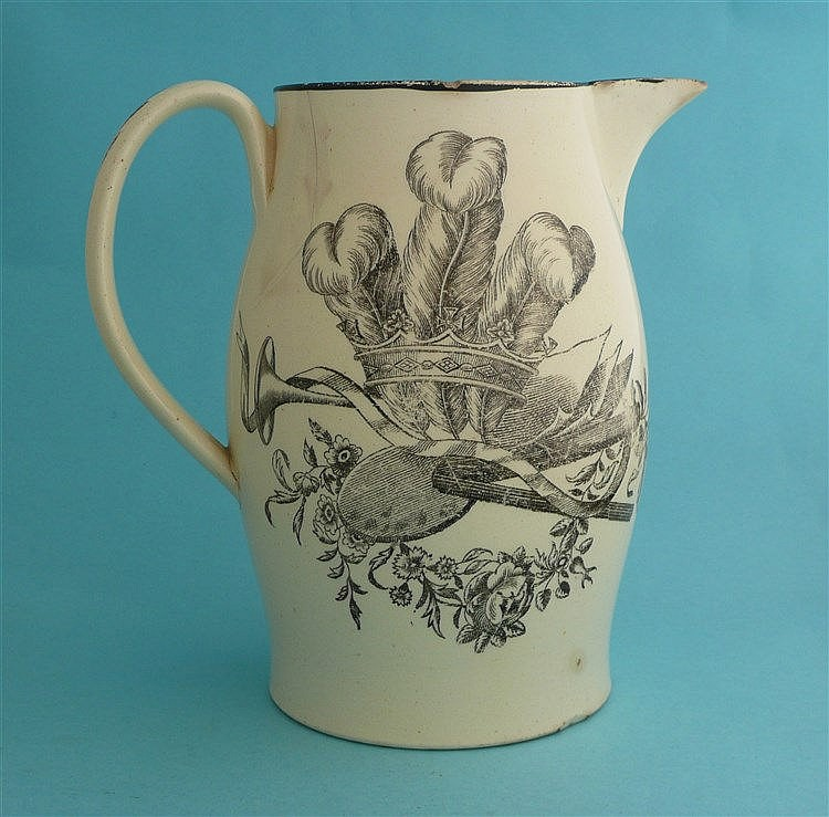 Prince of Wales: a creamware jug printed in black with the royal coat of ar