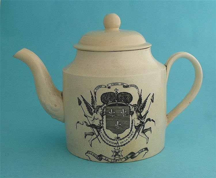 French Crown: a cylindrical creamware teapot and cover printed in black wit