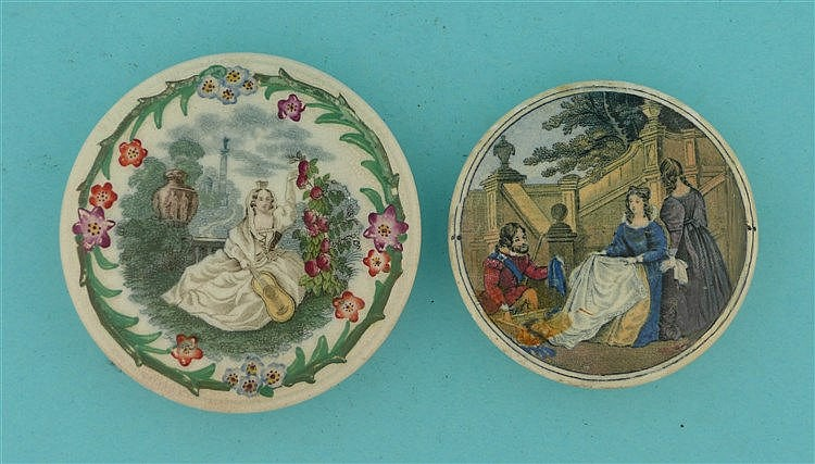Lady with Guitar (107) and The Packman (103) restored (2) pot lid, pot l