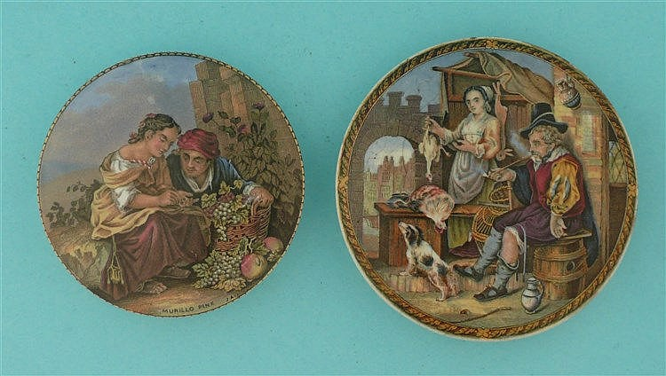 Girl with Grapes (345) and The Poultry Woman (349) (2)    pot lid, pot lids