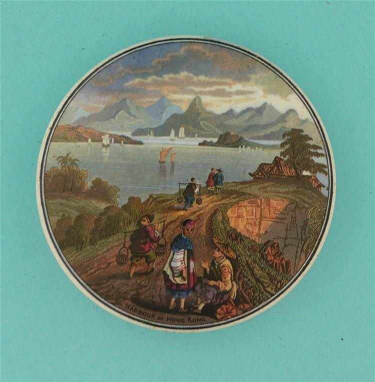 Harbour of Hong Kong (221)    pot lid, pot lids, potlid, potlids, prattware