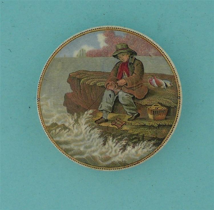 The Fisher Boy (341)    pot lid, pot lids, potlid, potlids, prattware