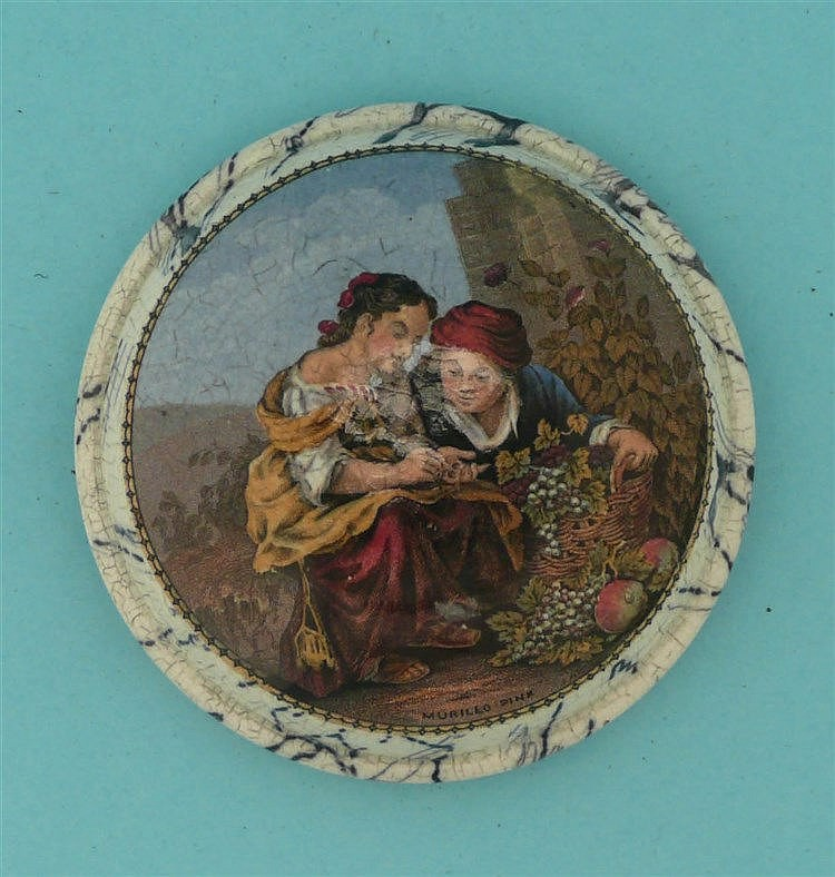 Girl with Grapes (345) domed lid with black marbled border and flange    po