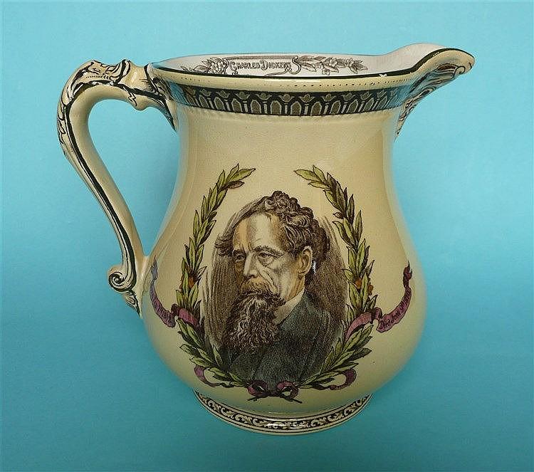 1870 Charles Dickens in Memoriam: a Burleighware jug printed in brown and d
