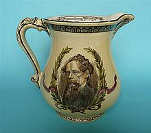 1870 Charles Dickens in Memoriam: a Burleighware jug printed in brown and d