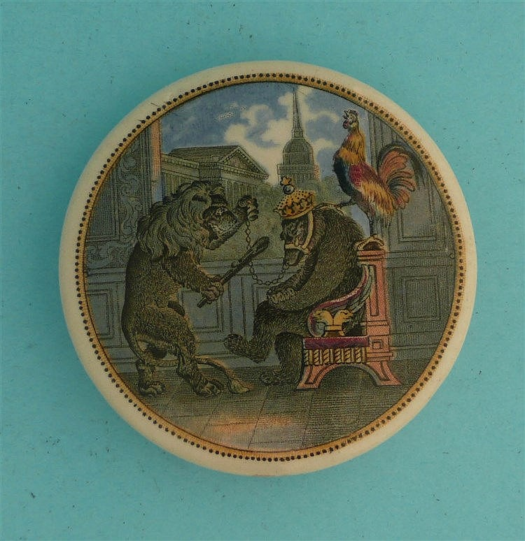 Bear, Lion and Cock (19)    pot lid, pot lids, potlid, potlids, prattware