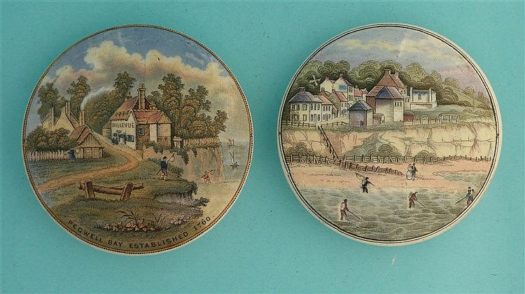 Pegwell Bay, Established 1760 (25) and Four Shrimpers (26) (2) pot lid,