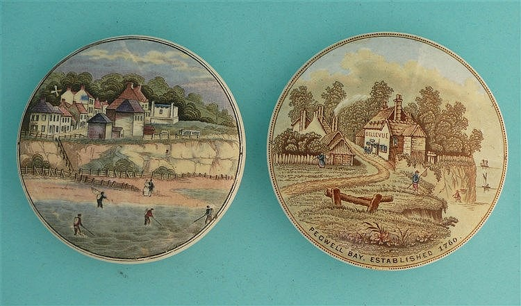 Pegwell Bay, Four Shrimpers (26) and Established 1760 (25) (2) pot lid,