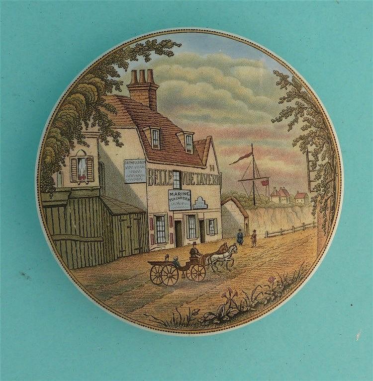 Belle Vue Tavern, with Carriage (27) pot lid, pot lids, potlid, potlids,