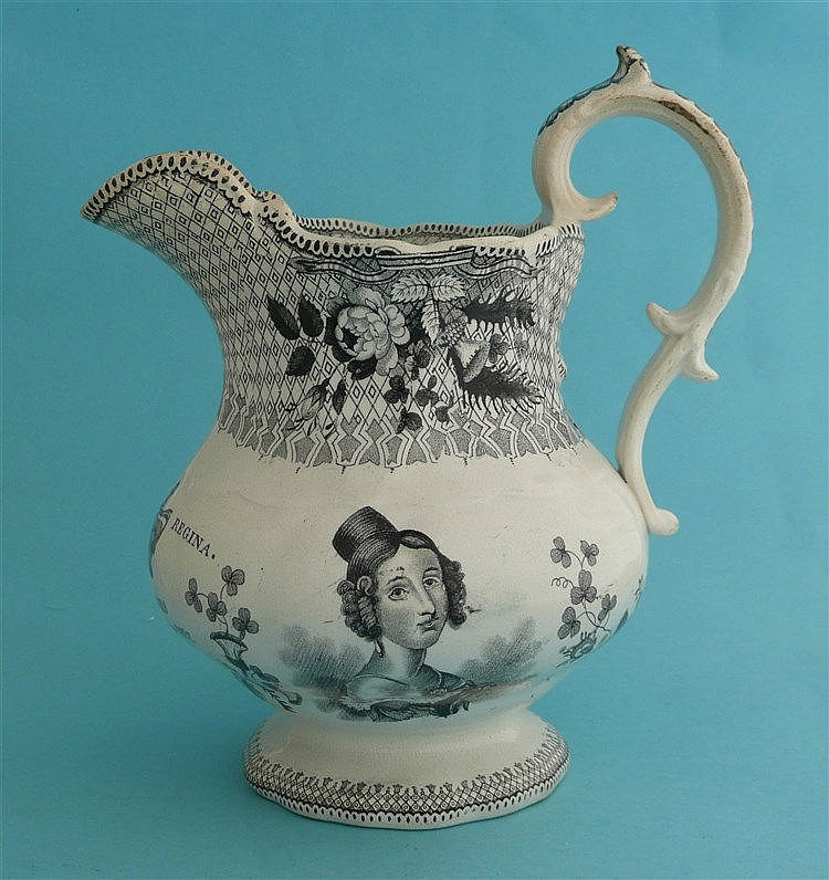 1837 Proclamation: a pottery jug printed in black with portraits and dated