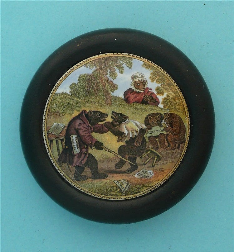 Bears at School (9) framed pot lid, pot lids, potlid, potlids, prattware