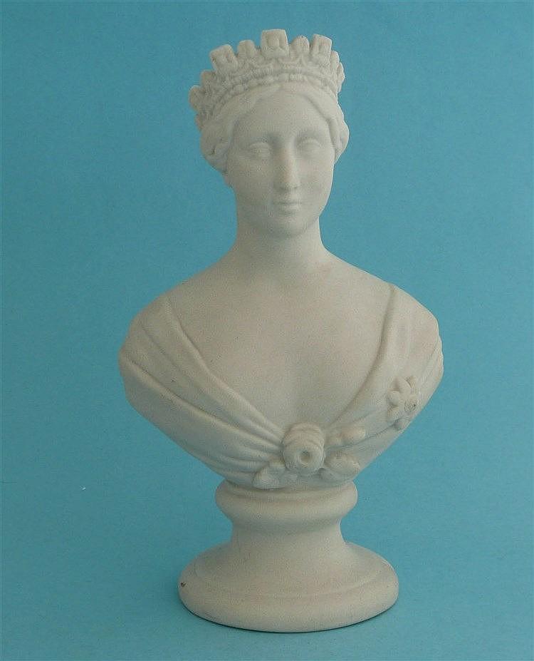 Victoria: a white parian portrait bust on integral socle base, circa 1850,