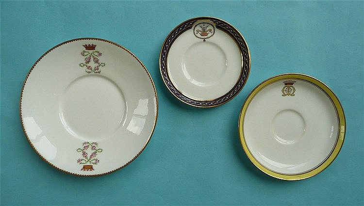 Three fine quality saucers for bespoke dinner services including an English