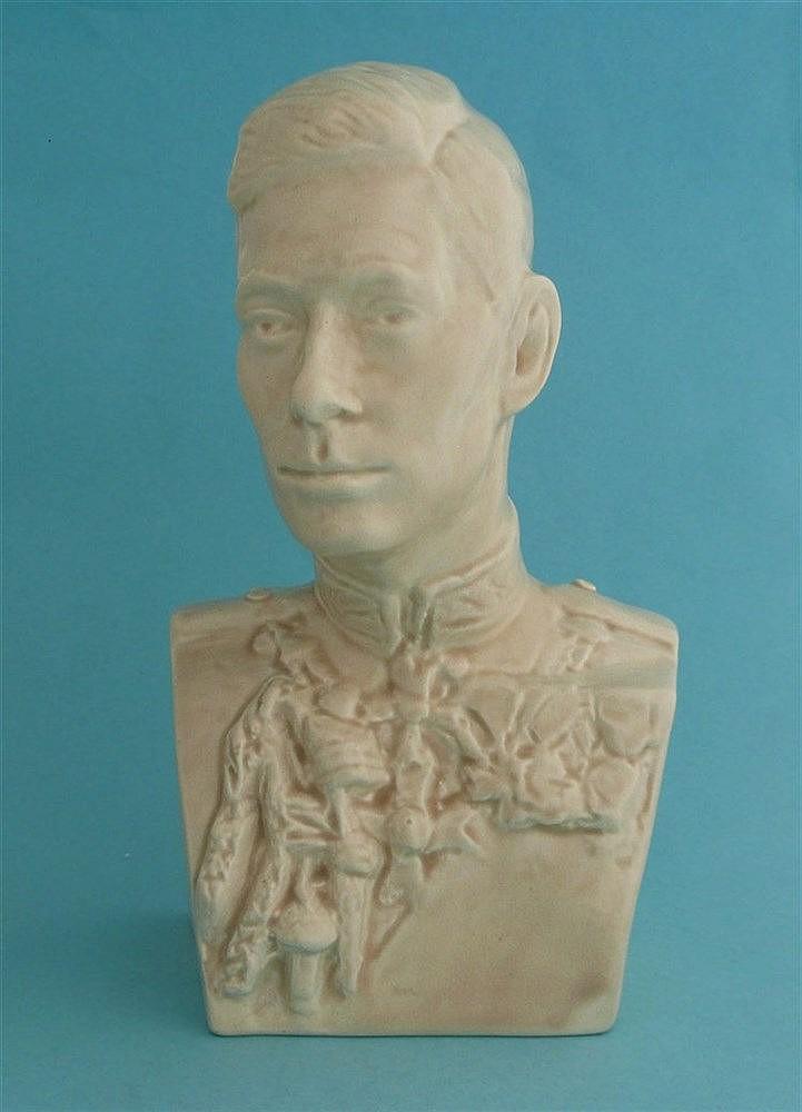 1937 George VI: a Beswickware portrait bust after Felix Weiss, 213mm com