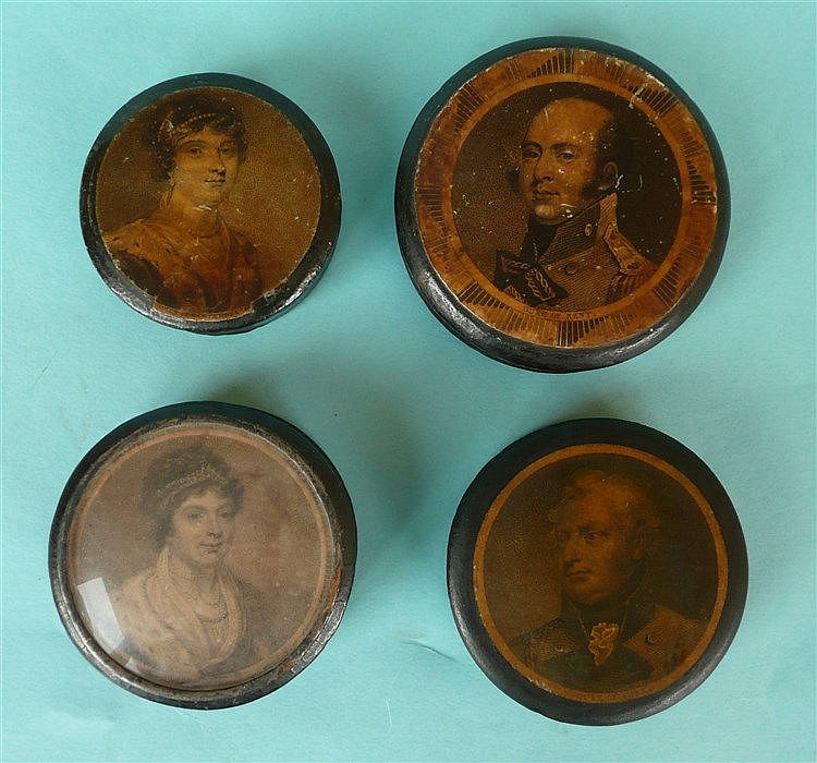 A circular papier-mâché snuffbox the lid with a named engraving of Duke of