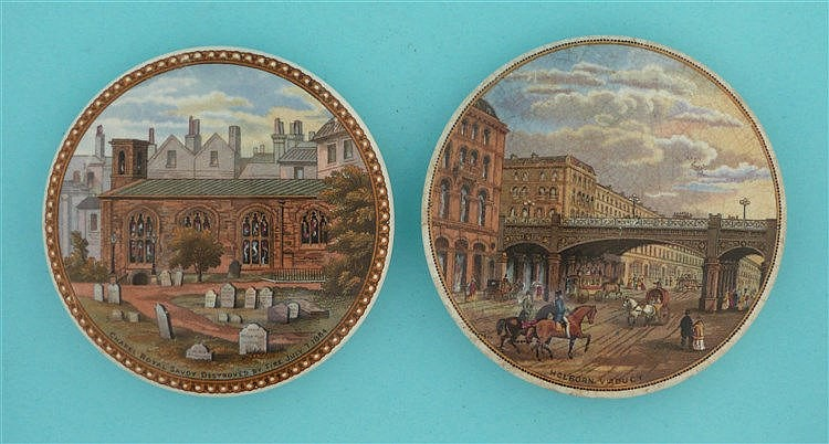 Chapel Royal (198) and Holborn Viaduct (202) (2) pot lid, pot lids, potl