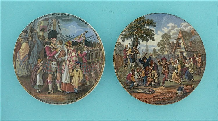 Embarking for the East (206) and The Village Wedding (240) (2) pot lid,