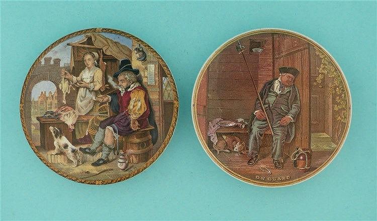 The Poultrywoman (349) and On Guard (340) (2)    pot lid, pot lids, potlid,