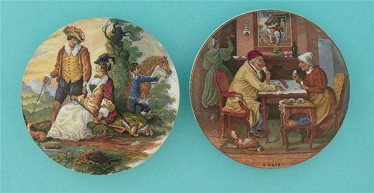 Fair Sportswoman (250) and A Pair (252) (2)    pot lid, pot lids, potlid, p