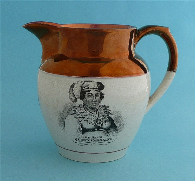 Queen Caroline: a good copper lustre banded jug printed in black with a nam