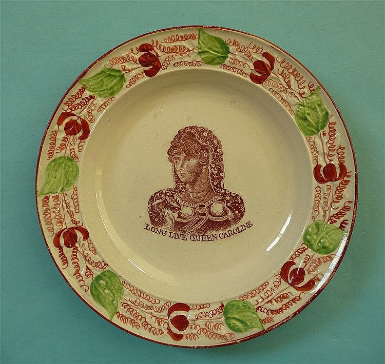 Queen Caroline: a pearlware nursery plate the moulded border decorated in i