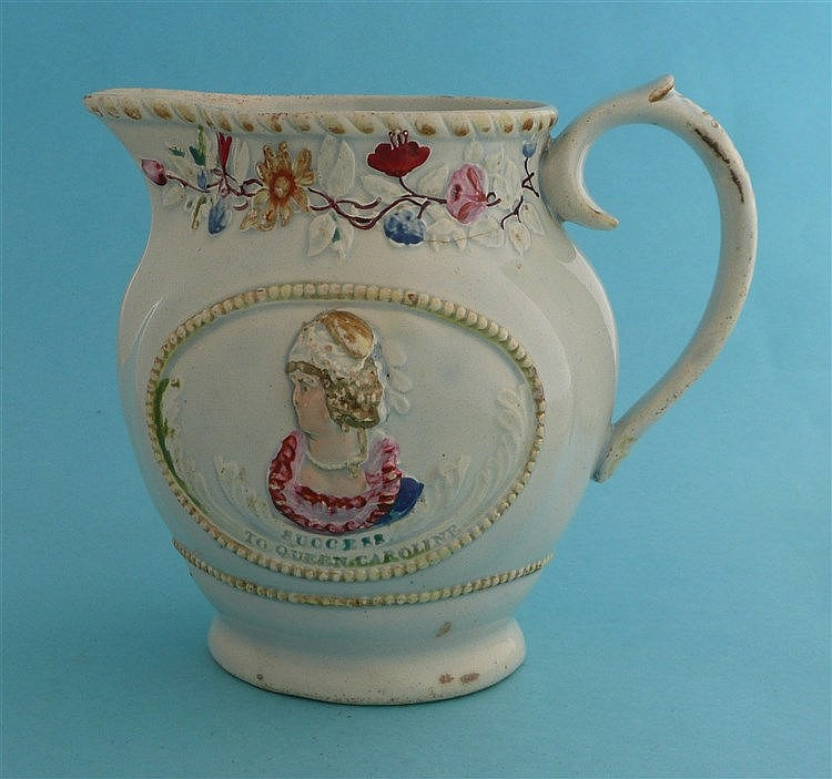 Queen Caroline: a colourful jug moulded with portrait ovals above impressed