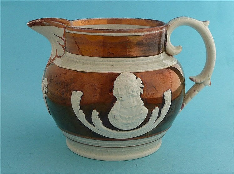 Queen Caroline: a copper lustre jug moulded with named portraits of Carolin