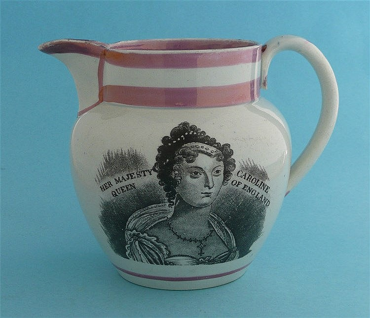 Queen Caroline: a good rare pink lustre banded jug printed in black with a
