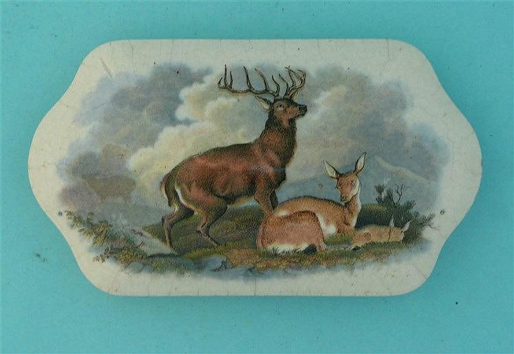 The Wild Deer (385) pot lid, pot lids, potlid, potlids, prattware