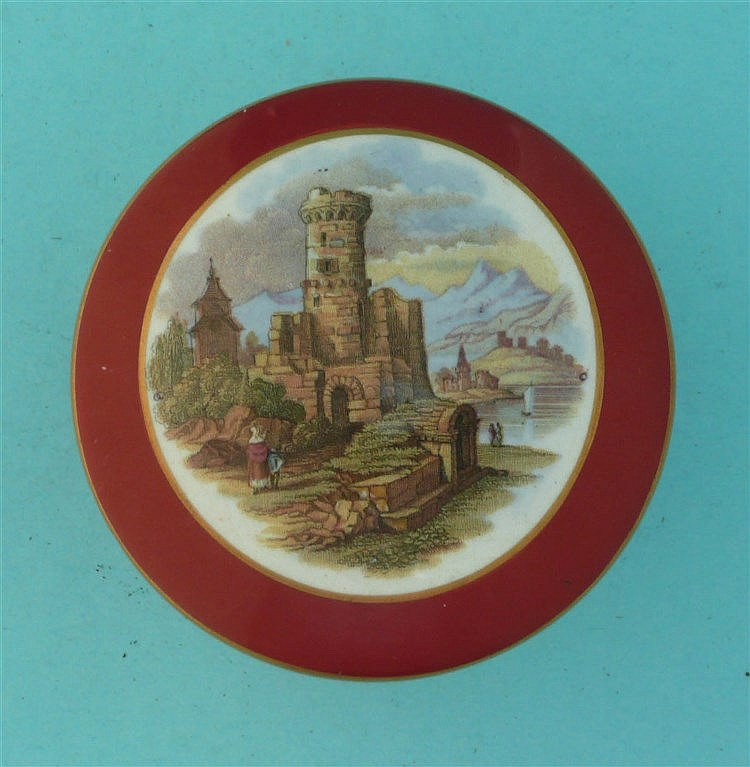 The Ruined Tower (377A) brick red border, buff and gilt scroll flange, comp
