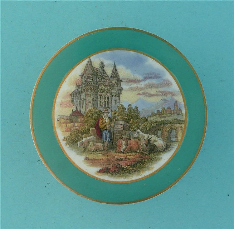 Medieval Mansion (374) green border, buff and gilt scroll flange, complete