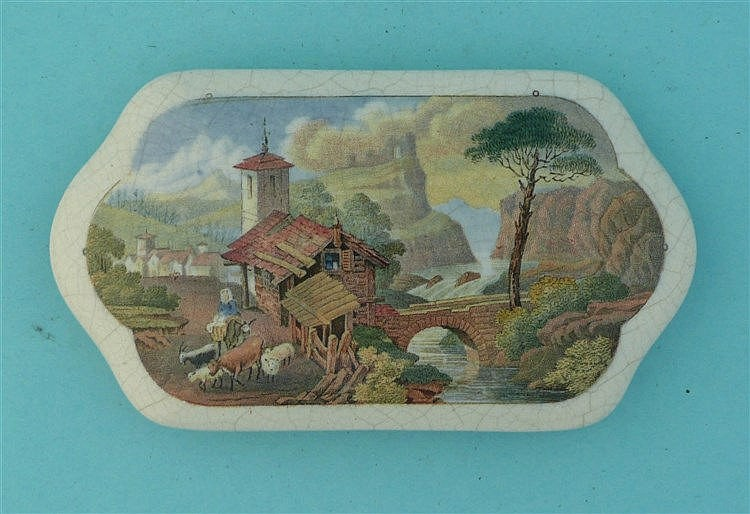 Village Scene on the Continent (398) pot lid, pot lids, potlid, potlids,