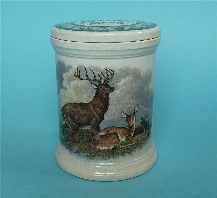 The Deer Stalker and Wild Deer (92, 92A) with lid (2)    pot lid, pot lids,