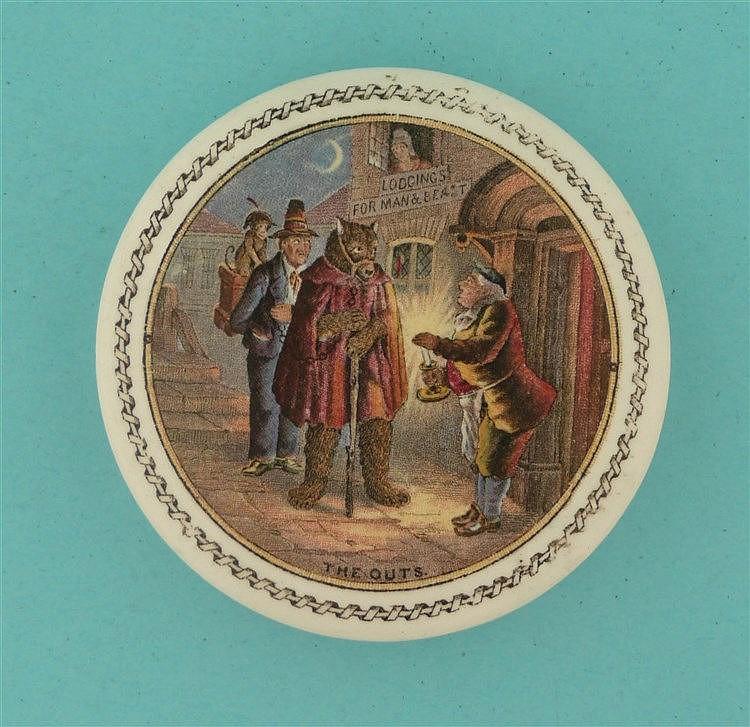 The Outs(16) fancy border    pot lid, pot lids, potlid, potlids, prattware