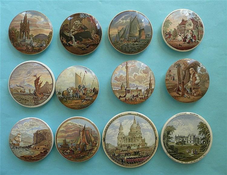 Twelve various pot lids (12)    pot lid, pot lids, potlid, potlids, prattwa