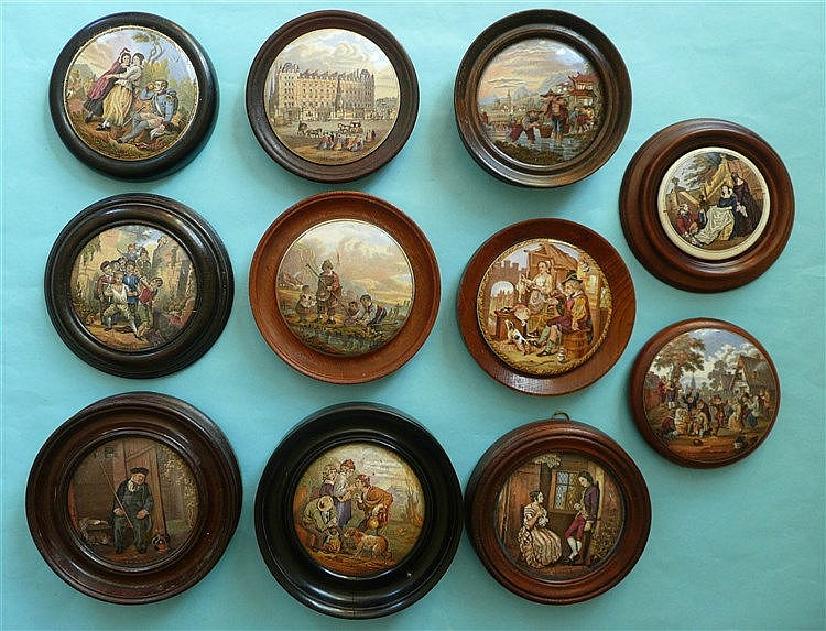 Five framed lids and six framed defective lids (11)    pot lid, pot lids, p