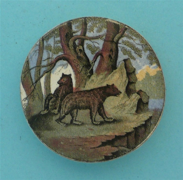 Bears on Rock (10) small    pot lid, pot lids, potlid, potlids, prattware