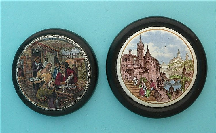 The Fishbarrow (58) and Swiss Riverside Scene (65) hairline, both framed (2