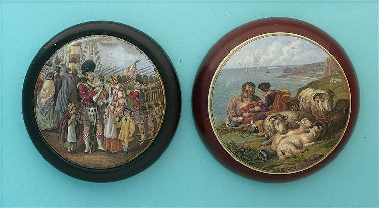 Embarking for the East (206) and Peace (220) both framed (2) pot lid, po