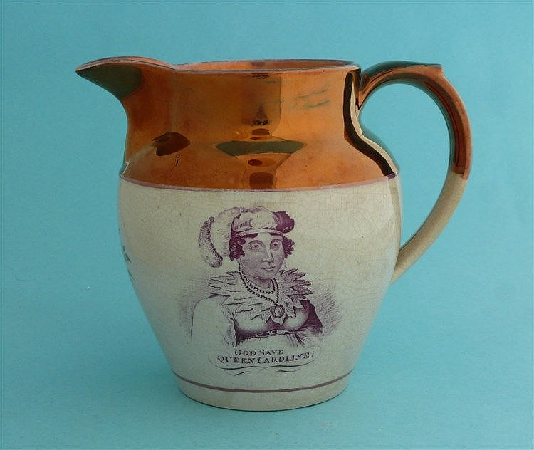 1820 Caroline: a copper lustre jug printed in puce with a named portrait an