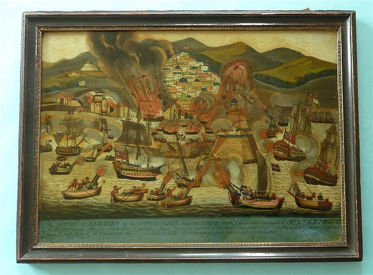 1816 Bombardment of Algiers: a good and rare glass picture graphically illu