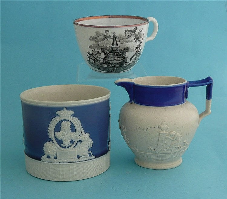 1817 Princess Charlotte in memoriam: a white stoneware blue ground mug moul