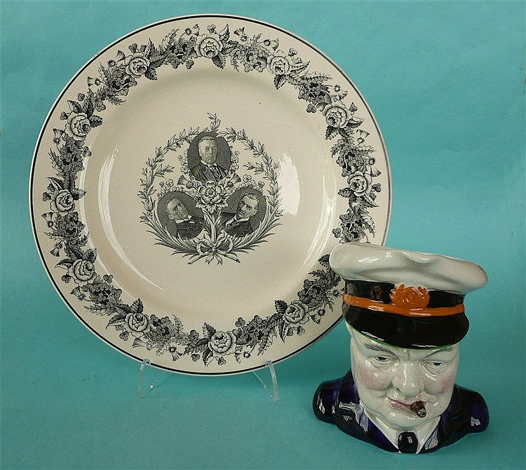 A Burleighware character jug depicting Winston Churchill, the underside ins