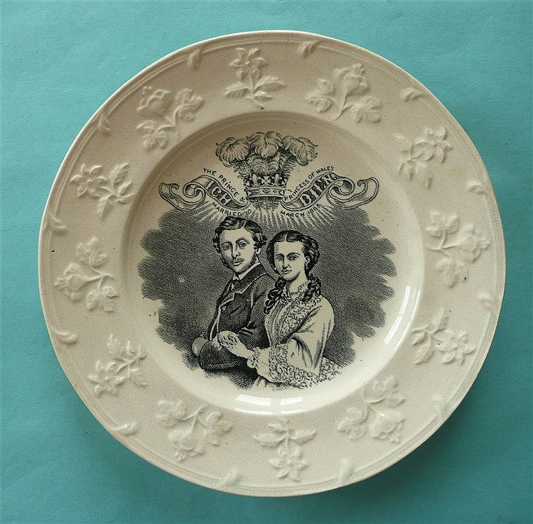 1863 Wedding: a pottery plate with floral moulded border printed in black w