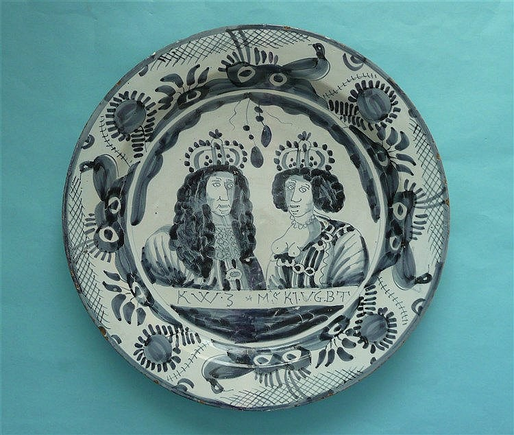 William and Mary: a large Delft dish painted in blue with half-length portr