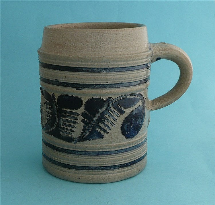A Westerwald grey stoneware tankard moulded with GR monogram on a circular