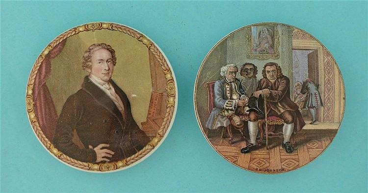 Sir Robert Peel (170) and Dr Johnson (175) (2) pot lid, pot lids, potlid