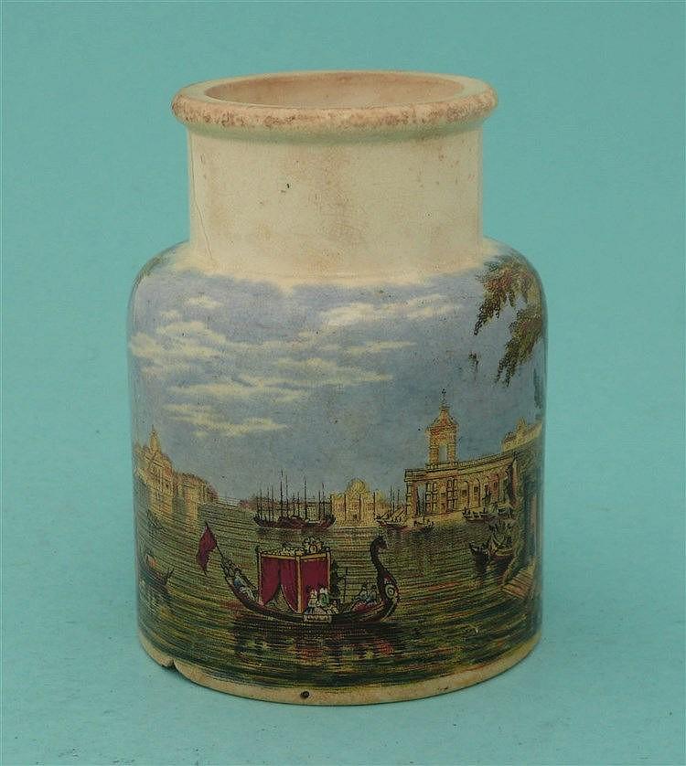 Venice (84) chipped foot    pot lid, pot lids, potlid, potlids, prattware