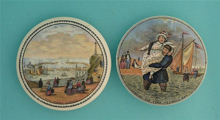 Royal Harbour (42) and Landing the Fare (38) (2) pot lid, pot lids, potl