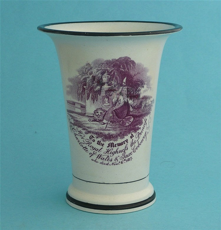 1817 Charlotte in memoriam: a trumpet shaped vase printed in purple with a